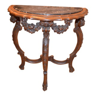 19th Century Victorian Inlaid Half Moon Table For Sale
