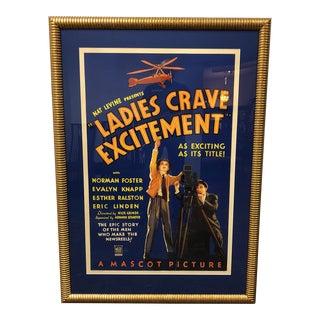 "Vintage ""Ladies Crave Excitement"" Custom Framed Movie Poster For Sale"