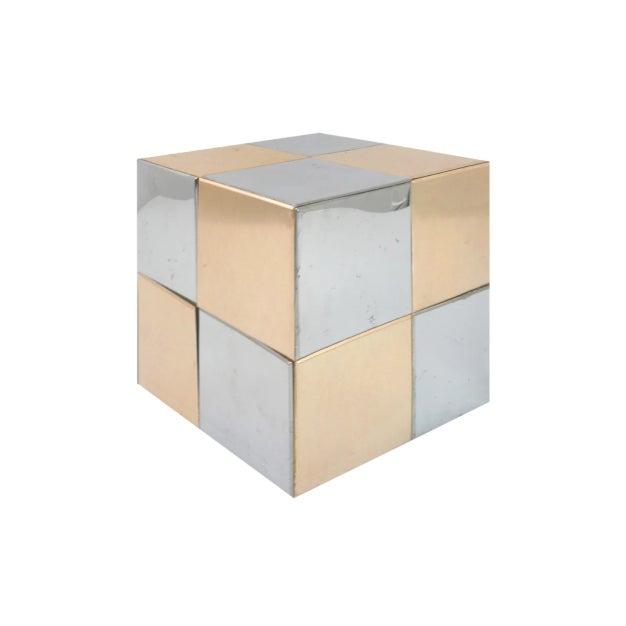 "Vintage mixed metal cube in the manner of Paul Evans. DETAILS: Dimensions: 8.5""W x 8.5""D x 9""H Materials: Metal Origin:..."