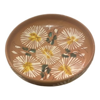 Mexican Hand Painted Floral Bowl For Sale
