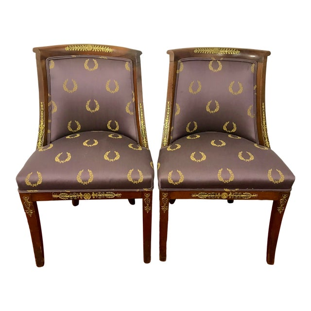 French Empire Side Chairs, a Pair For Sale