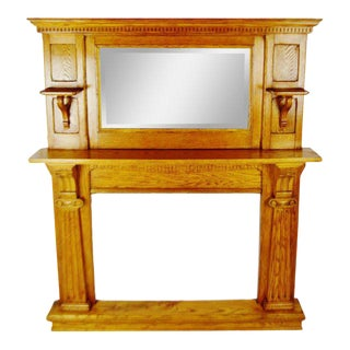 Antique 2 Piece Oak Fireplace Mantel Surround With Mirror For Sale