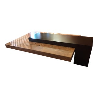 Contemporary Solid Marble and Espresso Hardwood Coffee Table