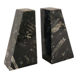 1970s Vintage Modern Black Marble Bookends – a Pair For Sale