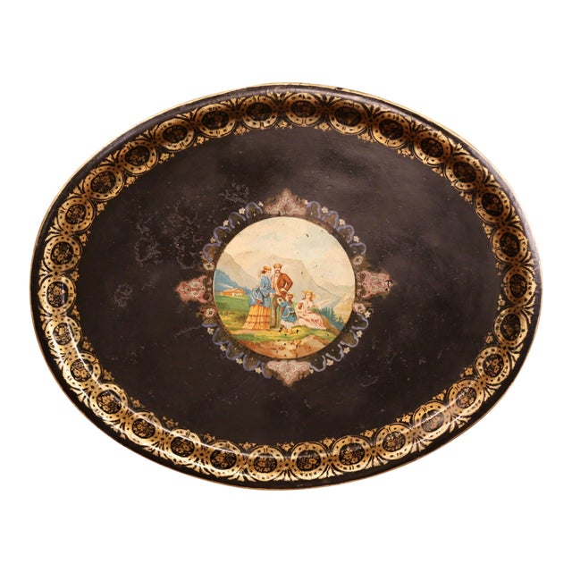 19th Century French Napoleon III Hand-Painted Oval Tole Tray With Family Scene For Sale