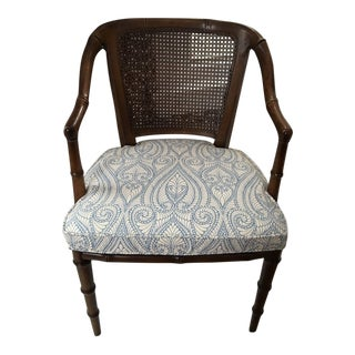 1970s Vintage Baker Furniture Blue and White Faux Bamboo Wood Chair For Sale