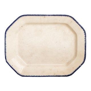 1850s Vintage Blue Edge Pattern Platter For Sale