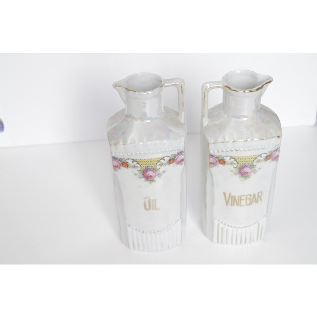 Antique German Lustre Oil and Vinegar Condiment Set - a Pair For Sale - Image 10 of 11