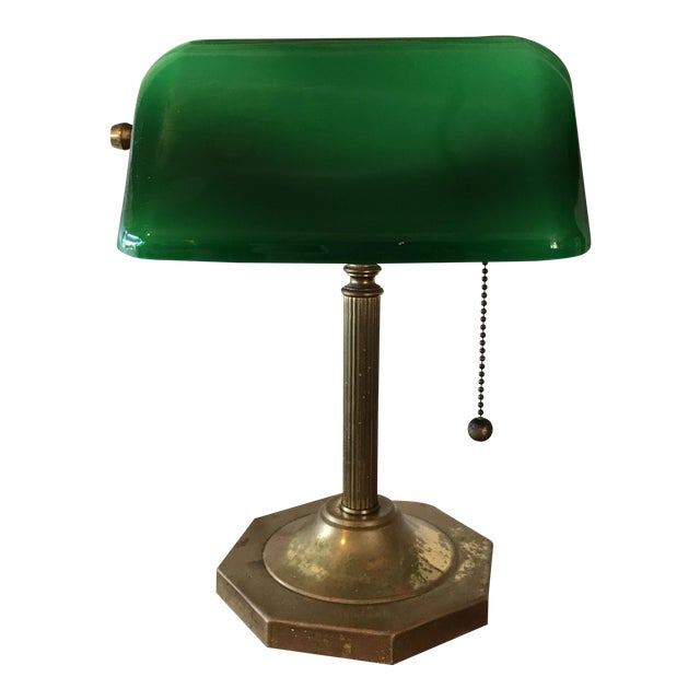 Vintage Desk Lamp With Green Glass Shade - Vintage Desk Lamp With Green Glass Shade Chairish