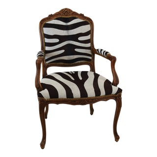 1950s Carved Hardwood & Tiger Cowhide Upholstered Armchair For Sale