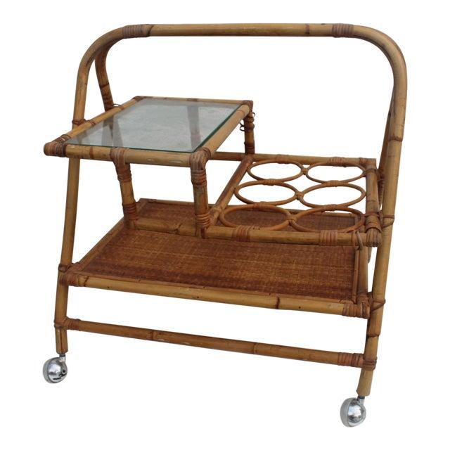 Vintage Small Rolling Wicker & Rattan Tea Cart For Sale