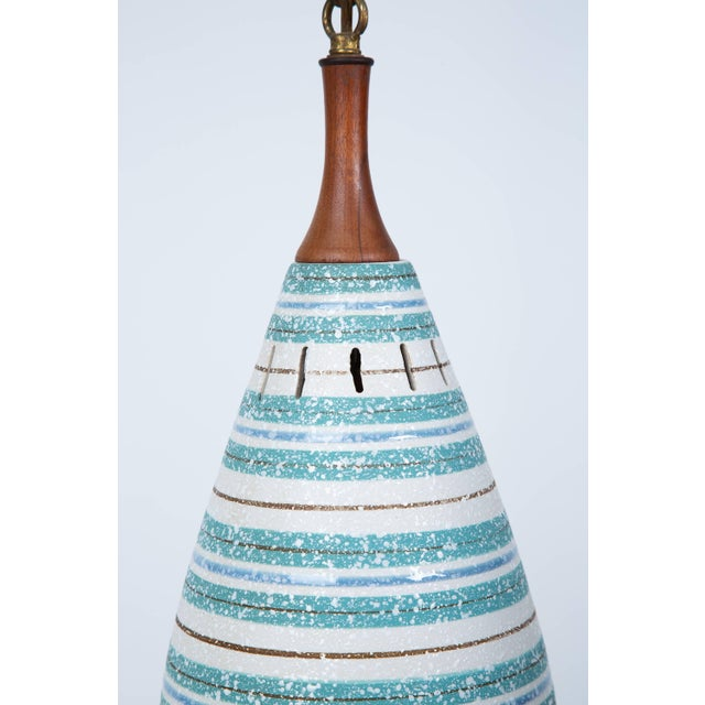 Mid-Century Modern Italian Stripe Ceramic Pendant Chandelier For Sale - Image 3 of 8