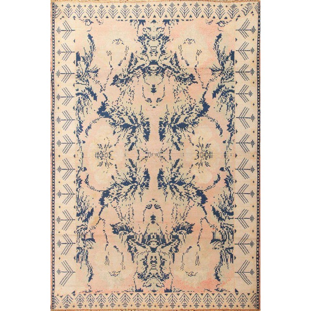 Textile Early 20th Century Antique Hand Knotted Pink and Blue Agrarian Rug 4′ × 6′8″ For Sale - Image 7 of 7