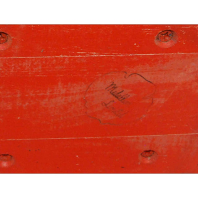 Red 1950s American Giltwood and Lacquer Occasional Table For Sale - Image 8 of 9