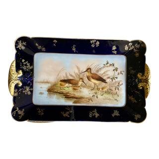 Antique Cobalt Blue Birds Limoges France Deposé Platter For Sale