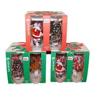 Luminarc Santa & Trees Glassware - Set of 12 For Sale