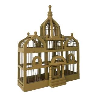 1900s Victorian Style Mustard Wooden Bird Cage
