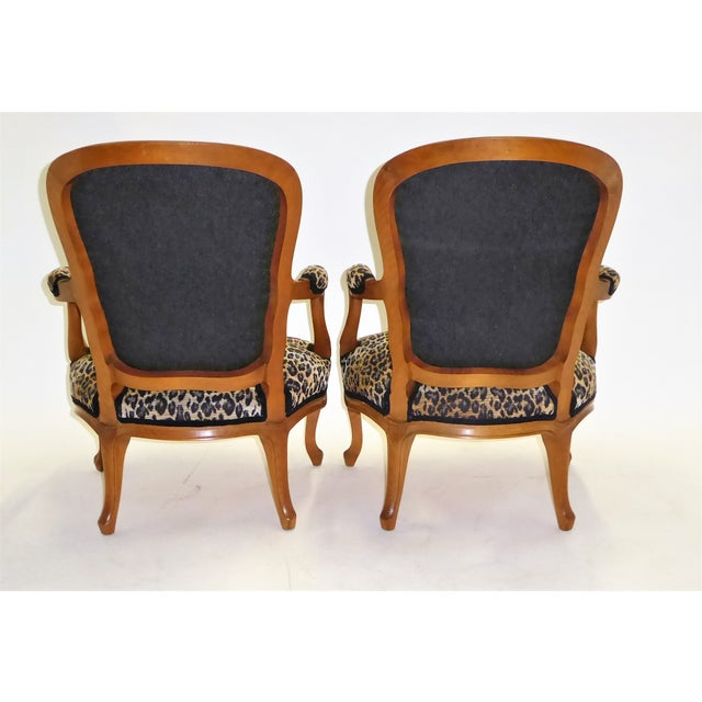 Saridis Lovely Pair of Louis XV Style Fauteuils or Chauffeuses by Saridis in Leopard Chenille, 1960s For Sale - Image 4 of 13
