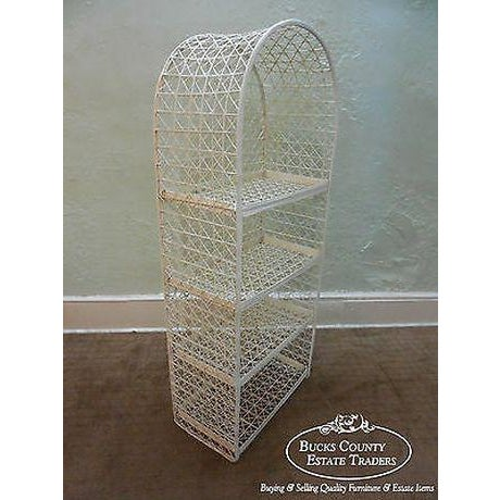 Russell Woodard Vintage White Spun Fiberglass Patio Etagere Bookcase For Sale In Philadelphia - Image 6 of 13