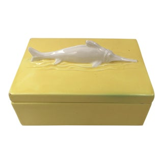 Mid 20th Century Czechoslovakian Ceramic Swordfish Box For Sale