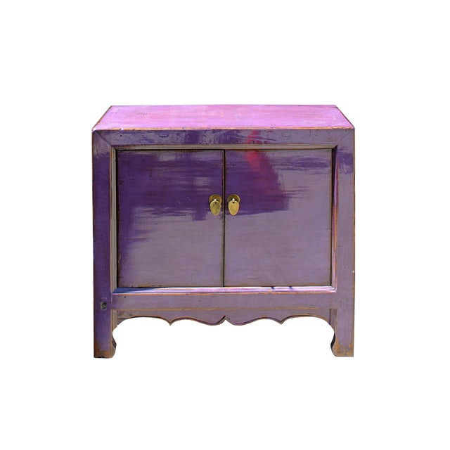 Oriental Simple Purple Lacquer Credenza Sideboard Buffet Table Cabinet For Sale In San Francisco - Image 6 of 6