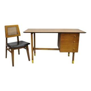 Mid Century Modern Walnut Floating Top Writing Desk & Cane Hibriten Desk Chair - 2 Pieces For Sale