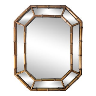 20th Century Hollywood Regency Gold Gilt Faux Bamboo Mirror For Sale