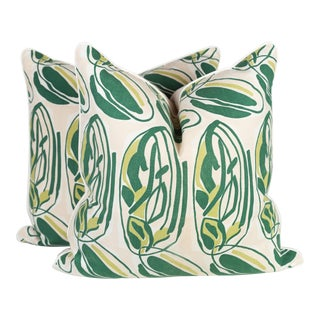 Green Abstract Leaf Pillows - A Pair