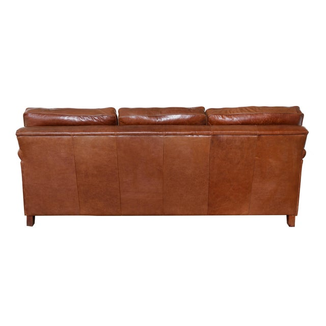 English Rolled Arm Sofa With Genuine Leather For Sale - Image 4 of 10