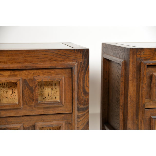 1970s Brutalist Stained Oak and Cork Nightstands - a Pair For Sale - Image 5 of 8