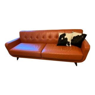 Modern Room and Board Bison Pumpkin Leather Anson Sofa For Sale