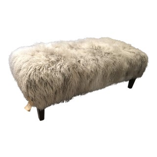 Allure White and Grey Mongolian Wool Upholstered Ottoman For Sale