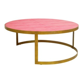 Red Leather Coffee Table by Fabio Ltd For Sale
