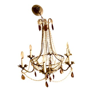 Ercole Crystal & Smoky Topaz 6 Arm Chandelier For Sale