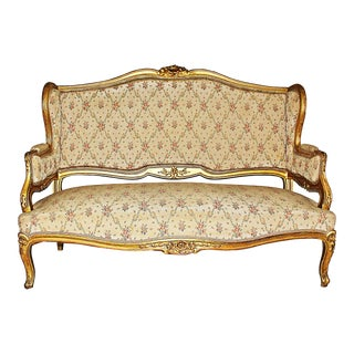 French Antique Gilt Sofa Loveseat For Sale