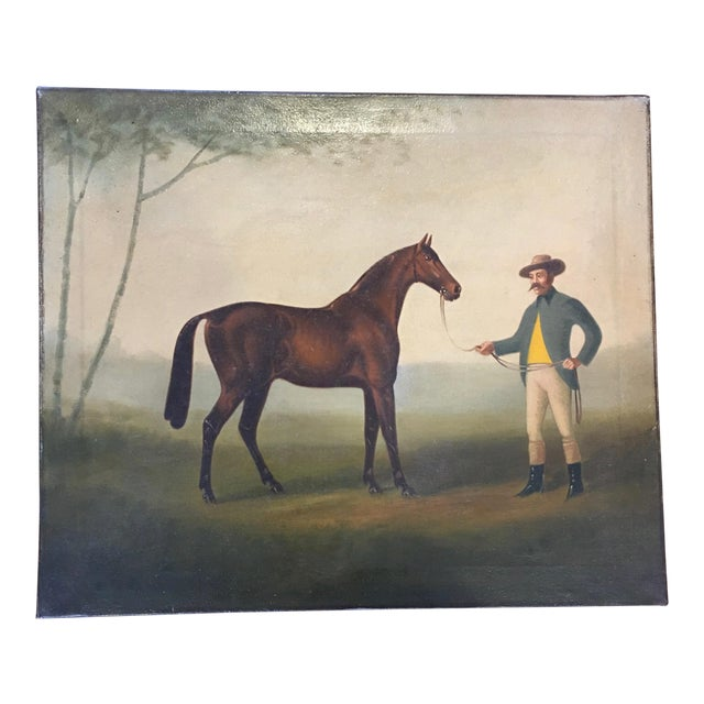 Late 19th Century Antique Horse and Rider Painting For Sale