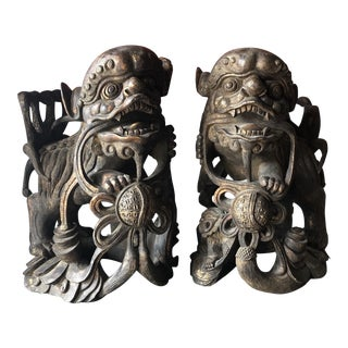 Antique Wooden Foo Dogs** - a Pair For Sale