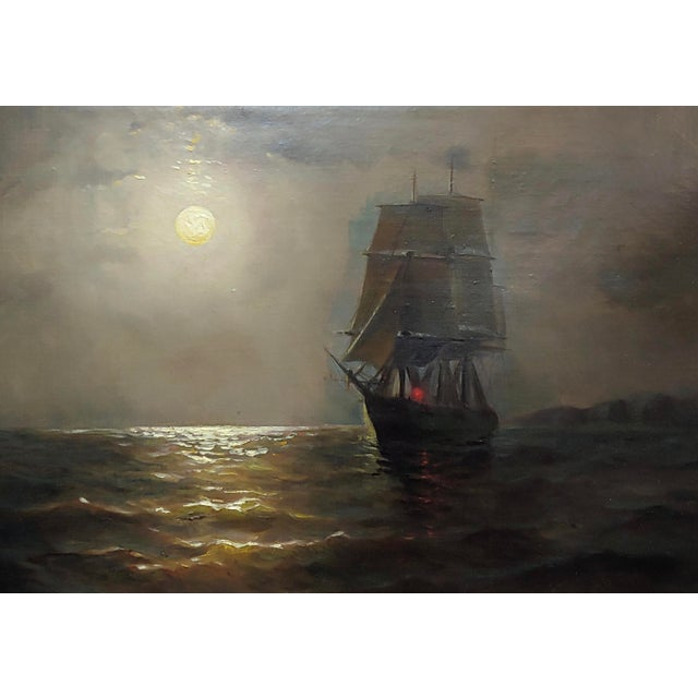 Americana 19th Century Ship Sailing by Moonlight -Oil Painting Signed by Miller For Sale - Image 3 of 9