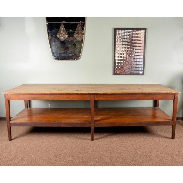 Large 19th Century French Pine Drapers Table With Original Finish For Sale - Image 13 of 13