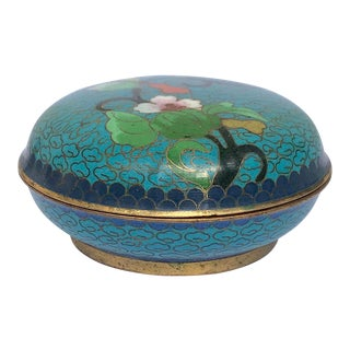 Round Cloisonné Lidded Catchall / Weed Pot For Sale