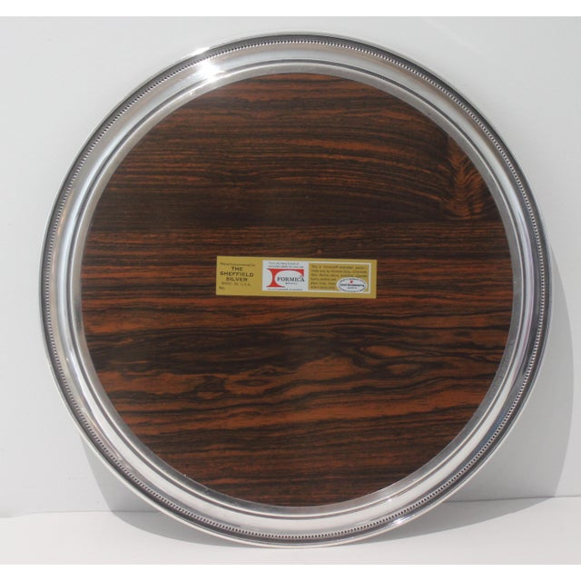 Modern Vintage Sheffield Serving Tray Silver Plate & Faux Rosewood Laminate For Sale - Image 3 of 8