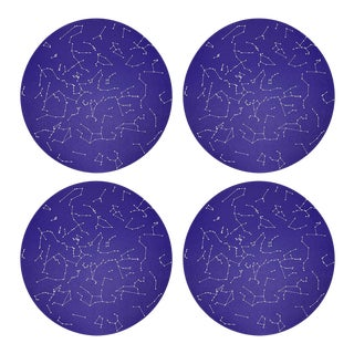 "Constellations Stars, 16"" Round Pebble Placemats, Set of 4 For Sale"