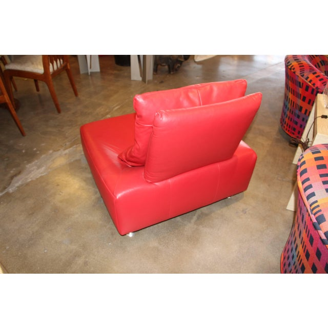 Mid-Century Modern Red Leather Italian Lounge Chair For Sale - Image 3 of 7
