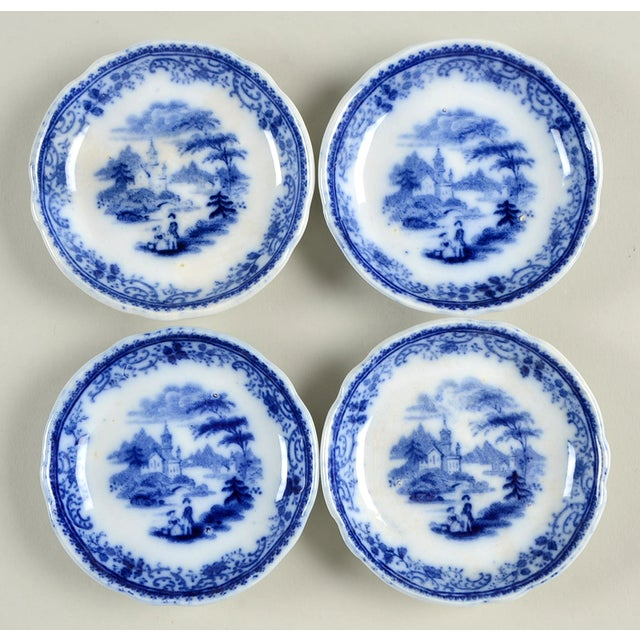 Ceramic Burgess & Leigh Flow Blue Butter Pat - Set of 4 For Sale - Image 7 of 7
