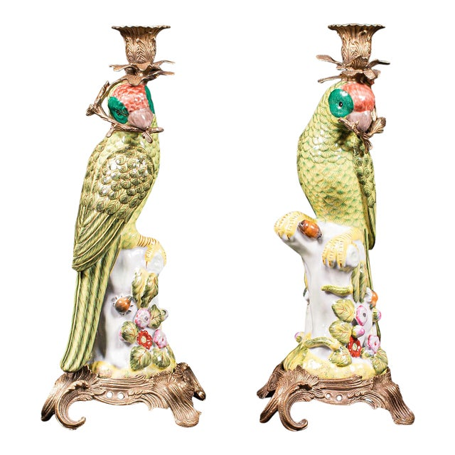 1980s Ceramic Oriental Decorative Candlesticks - a Pair For Sale