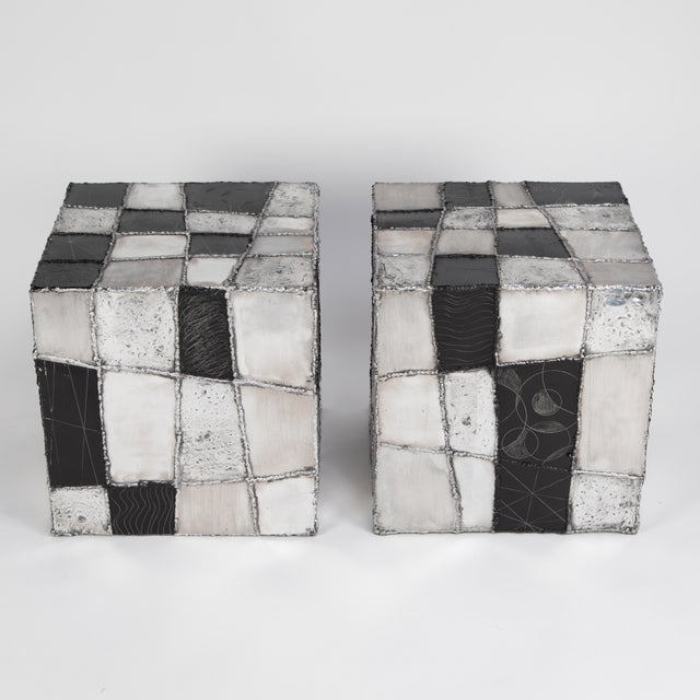 "Paul Evans Rare Pair of Paul Evans ""Argente"" Side Tables, Circa 1960s For Sale - Image 4 of 13"