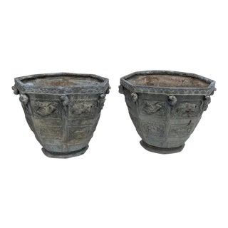 1910s Bromsgrove Lead Planters - a Pair For Sale