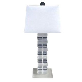 20th Century Clear Frosted Lucite Table Lamp by Karl Springer For Sale