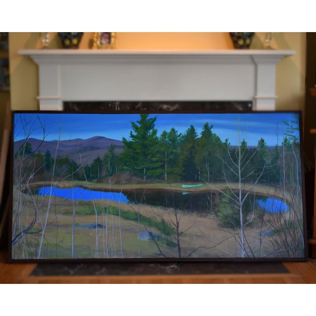 "Large ""Canoe, Pond, and Mountains in Vermont"" Painting by Stephen Remick For Sale - Image 10 of 13"