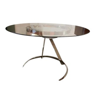 Boris Tabakoff Round Breakfast or Center Table in Glass and Chromed Steel For Sale